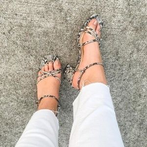 Windsor Strappy Square Toe Block Heels